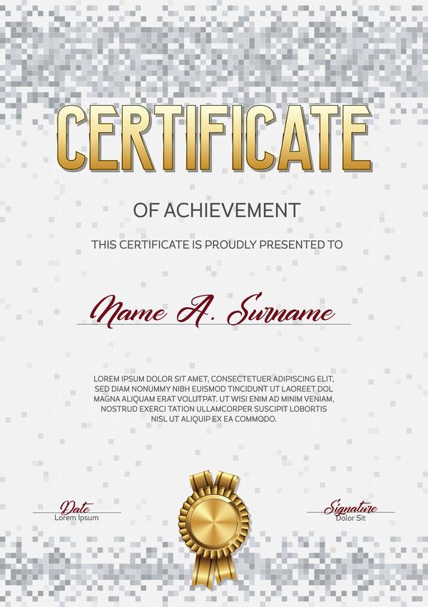 pixelated gray certificate