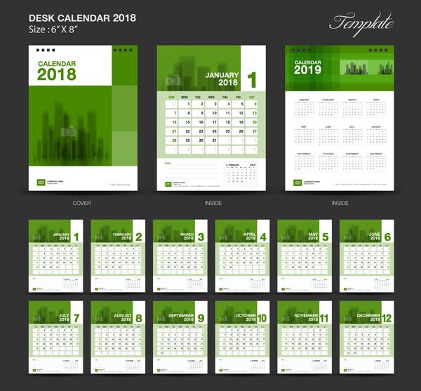 year green desk calendar 2018