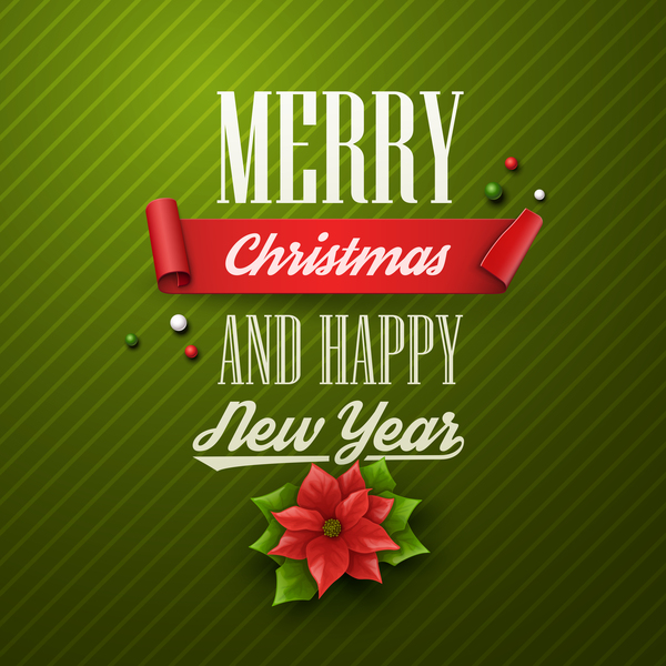 year new merry happy green christmas card