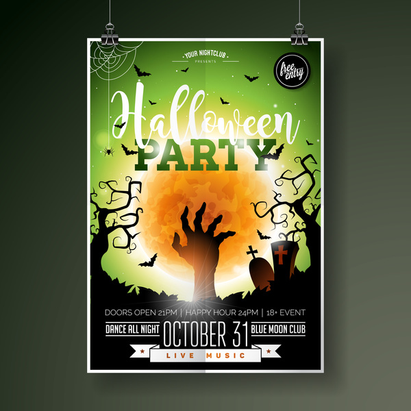 Halloween Flyer With Poster Cover Template Vector 05 Welovesolo