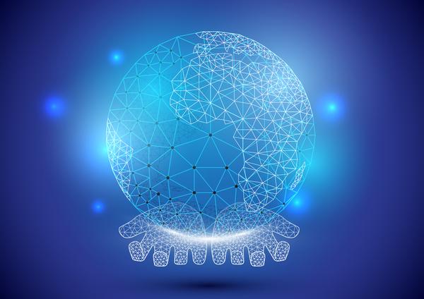 technology polygon inspiration hologram holding hands globe geometric