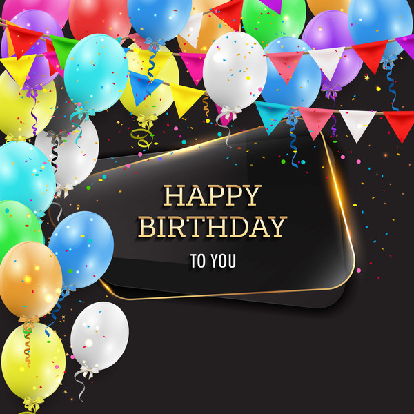 Happy birthday background with glass banner vectors 03 ...