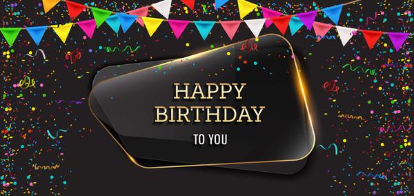 happy glass birthday banner