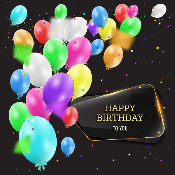 happy glass birthday banner