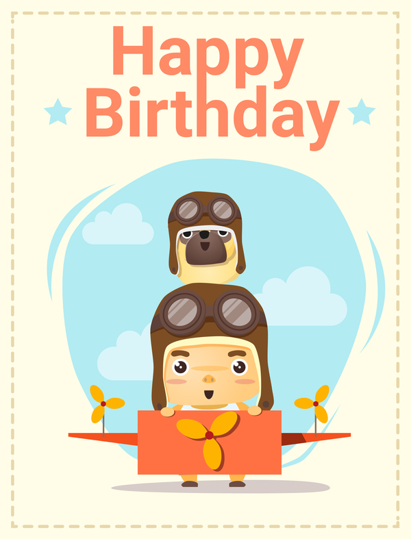Happy Birthday Card With Little Boy And Friend Vector 01 Welovesolo