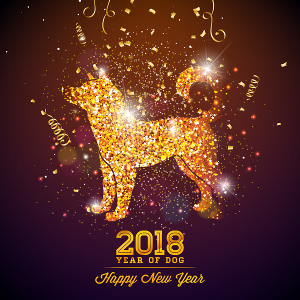 year new happy dog 2018
