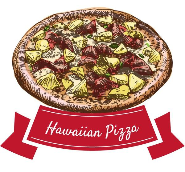 pizza Hawaiian hand drawn