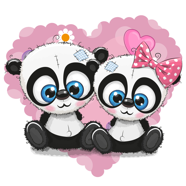 heart with cute panda cartoon vector 07 welovesolo. Black Bedroom Furniture Sets. Home Design Ideas