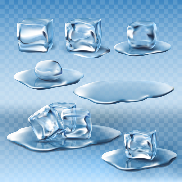 water splashes ice cubes