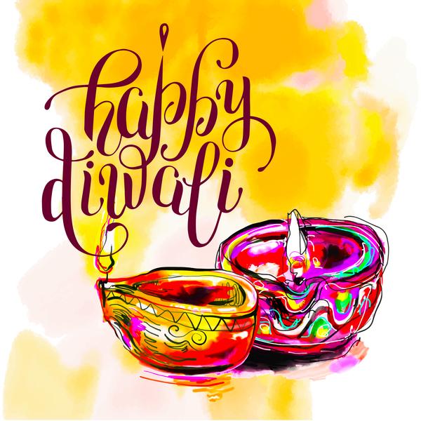 indian holiday happy hand drawn Diwali