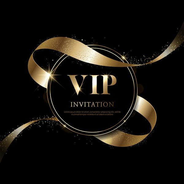 Luxury black with golden vip invitation card vector 04 welovesolo vip luxury invitation golden card black stopboris Image collections