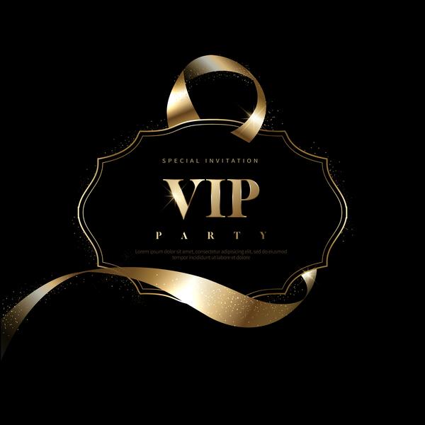 Luxury black with golden vip invitation card vector 09 welovesolo vip luxury invitation golden card black stopboris Choice Image