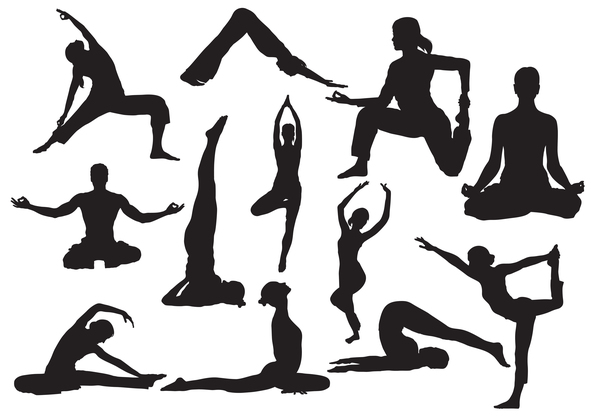 yoga women silhouette pose man
