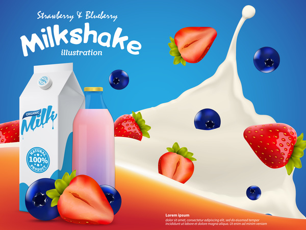 splash poster milkshake milk berries