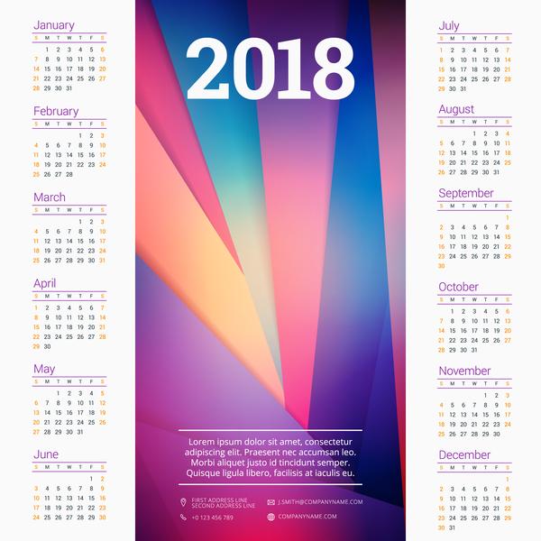 modern company calendar 2018