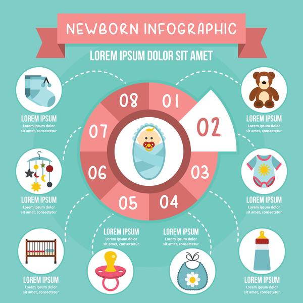 newborn infographic design baby