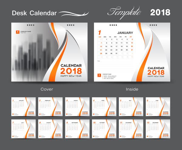 year orange for desk cover calendar 2018