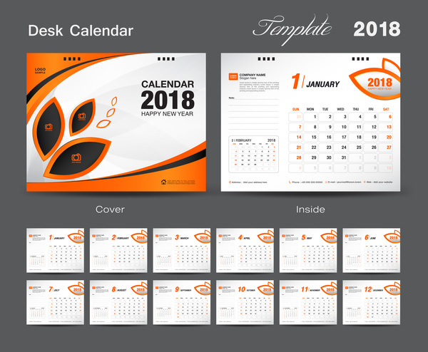 year orange for desk cover calendar 2018