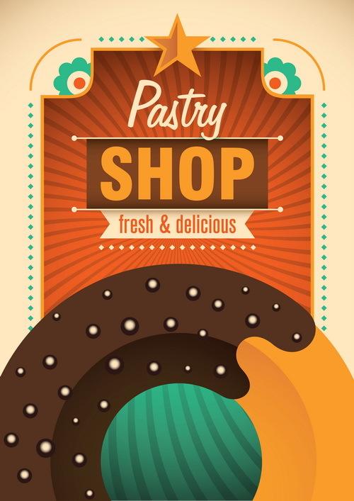 shop Retro font poster pastry