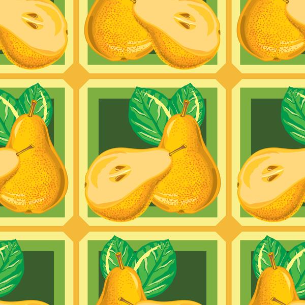seamless pear pattern green