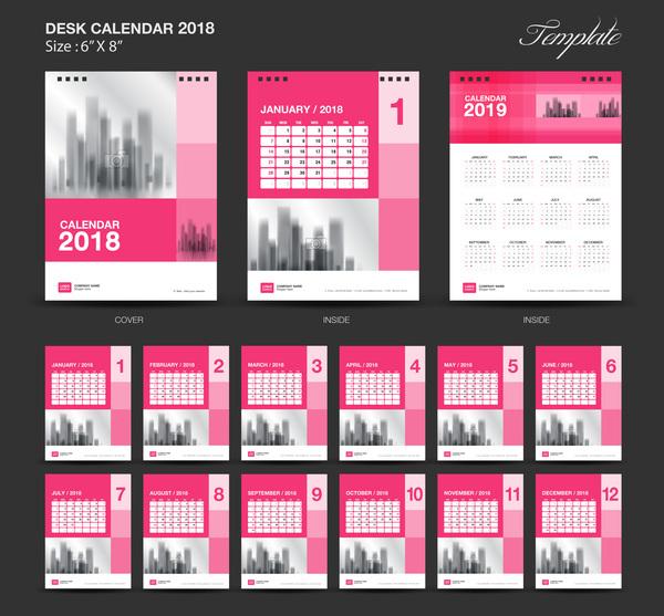 pink desk calendar 2018