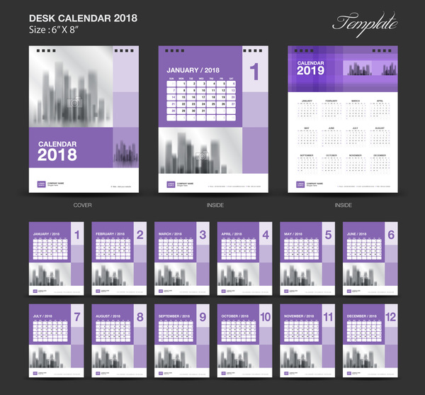 purple desk calendar 2018