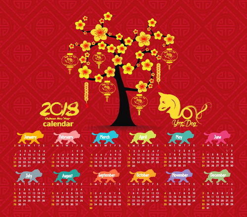 Red 2018 calendar chinese styles vector - WeLoveSoLo