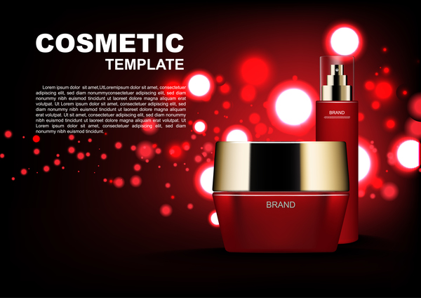 red poster light cosmetic bubble ads