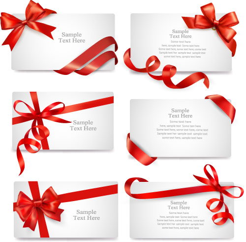 Red Ribbon With Christmas Card Template Vector Welovesolo