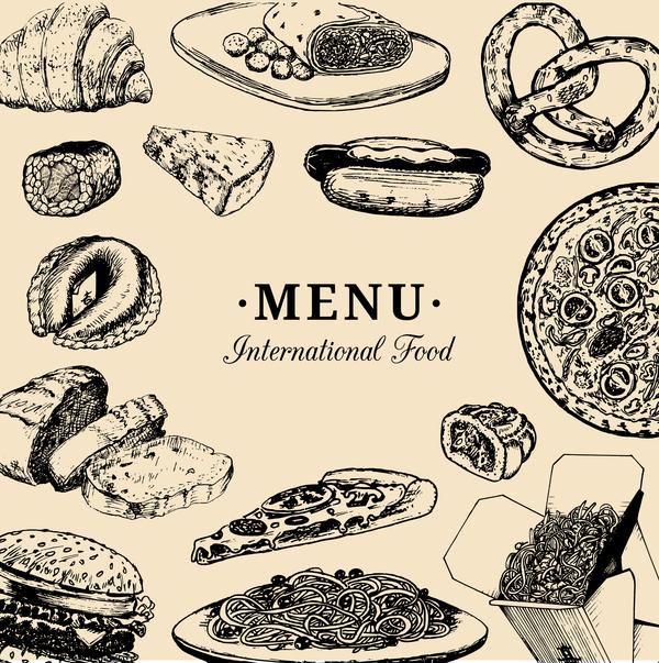 restaurant menu international hand drawn