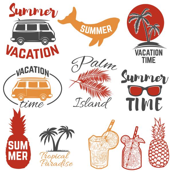 time summer emblems color