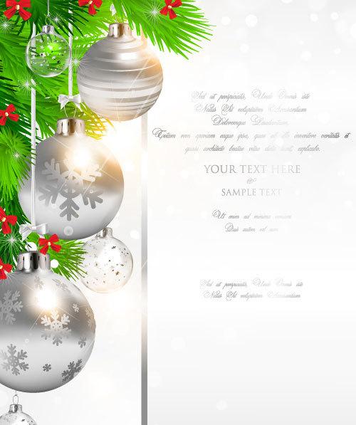 silver greenting fir christmas card balls