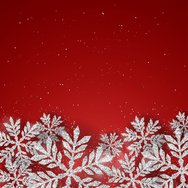snowflakes silver red christmas