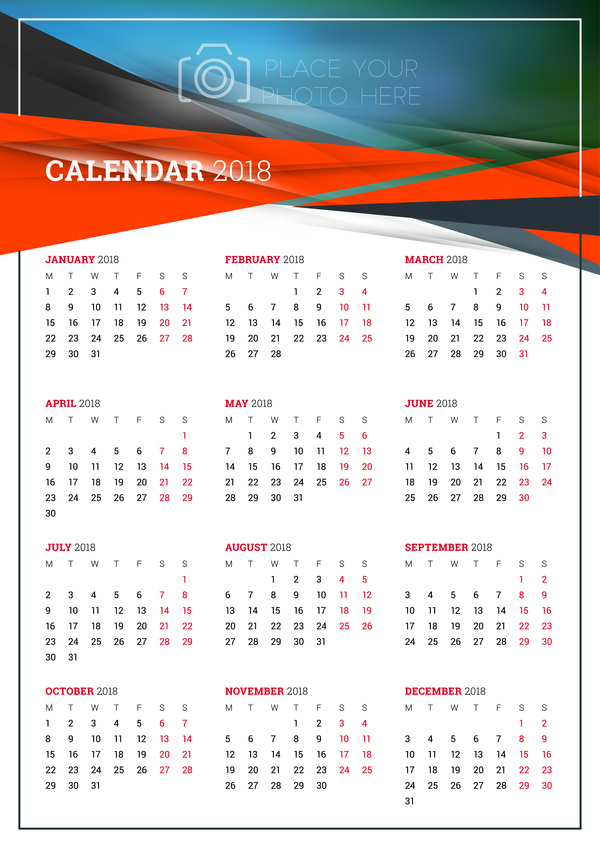 Simple 2018 calendar template vector 01 - WeLoveSoLo
