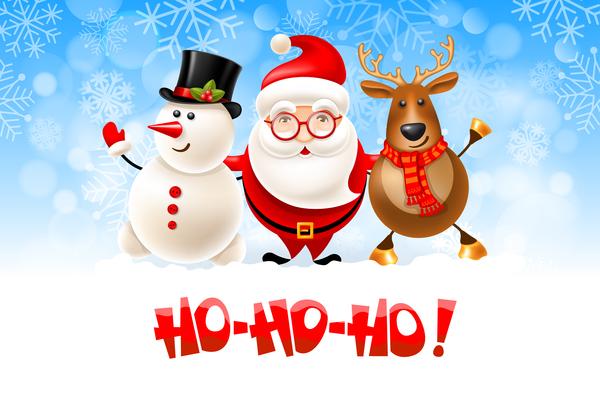 snowman santa deer christmas