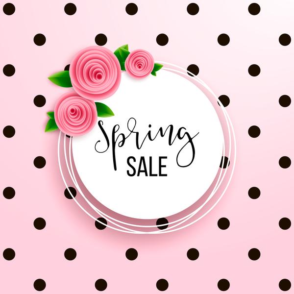 spring sale round pink flower card