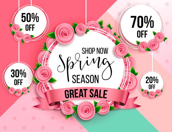 spring season label discount circle