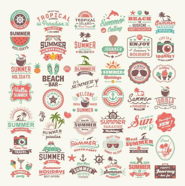 typography summer labels badge