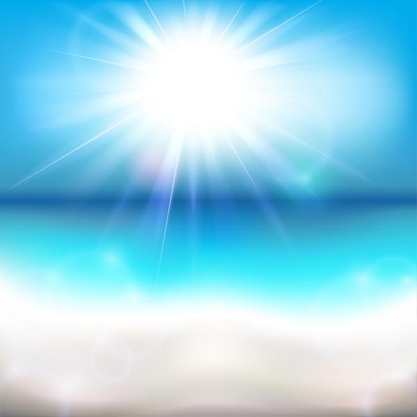 sun shining ocean