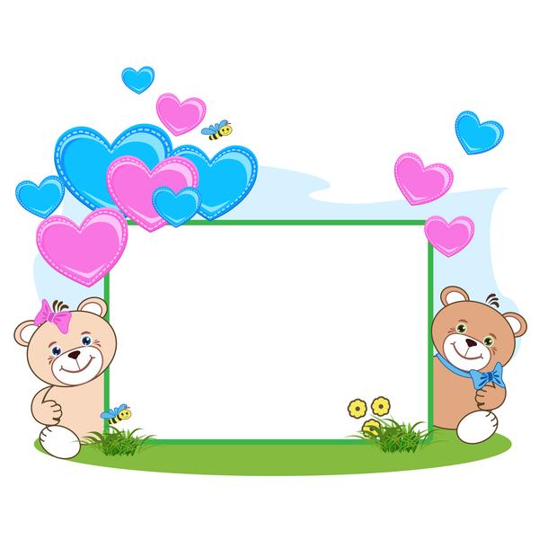 Teddy bear with heart frame cartoon vector 04 - WeLoveSoLo