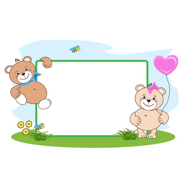 Teddy bear with heart frame cartoon vector 05 - WeLoveSoLo