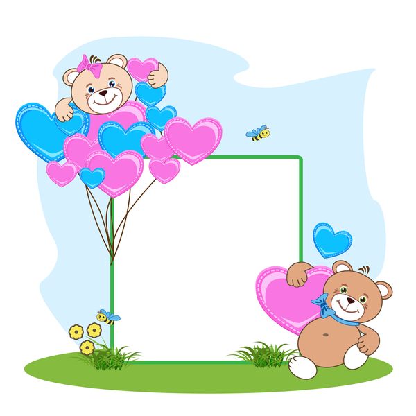 Teddy bear with heart frame cartoon vector 06 - WeLoveSoLo