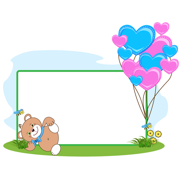 Teddy bear with heart frame cartoon vector 07 - WeLoveSoLo