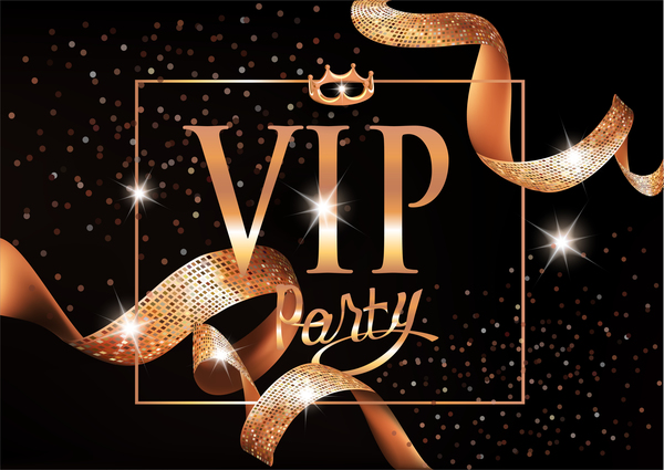 Vip invitation card with gold curly ribbons and frame vector vip ribbons invitation gold frame curly card stopboris Images
