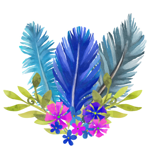 watercolor flower feather