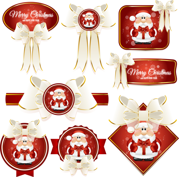 white red labels christmas bows
