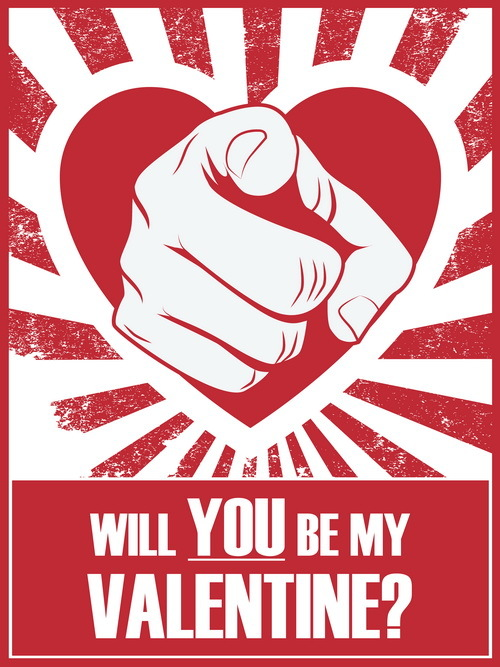 you will vintage valentine poster