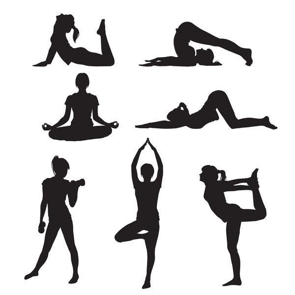 yoga women silhouette pose