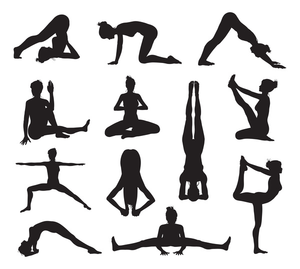 yoga women silhouette pose