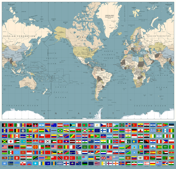world maps with world flags vector welovesolo
